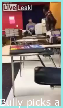 Bully picks a fight and spits on dude with broken hand, gets smashed