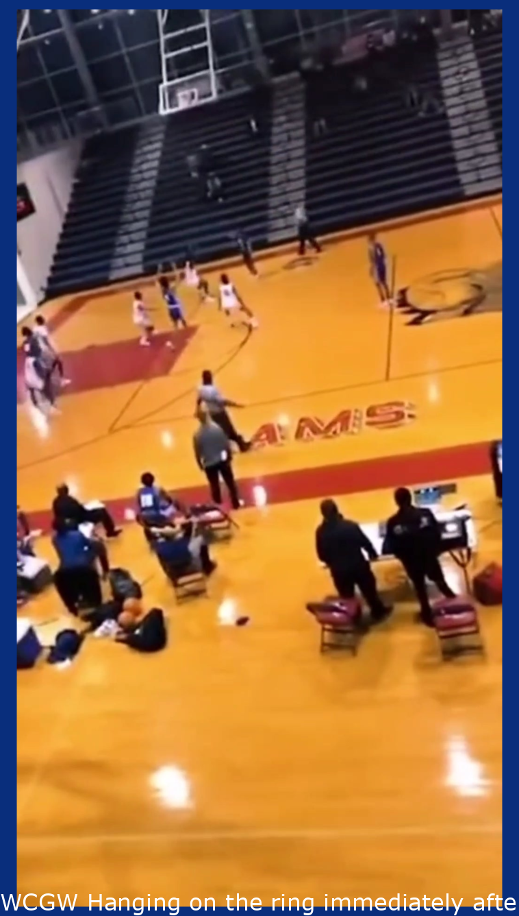 WCGW Hanging on the ring after a dunk.