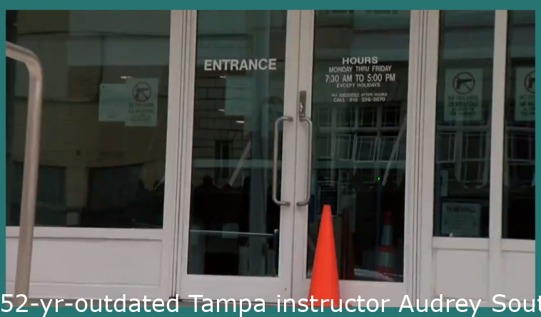 52-yr-old Tampa teacher Audrey Southard-Rumsey runs away from federal court after her first appearance Wednesday afternoon. She is charged with felony assault of a federal police officer in connection with Jan 6 Capitol insurrection.