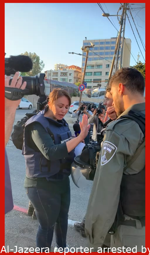 Al-Jazeera reporter arrested by Israeli police in Sheikh Jarrah for asking questions. The oppressors are losing and silencing the media. The world leaders who tout democracy ignore these illegal actions