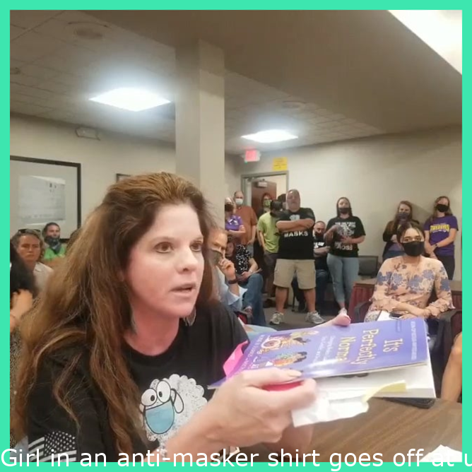 """Woman in an anti-masker shirt goes off at school board meeting, equates IL sex ed bill (SB0818) with telling elementary school kids that they """"don't have enough anal sex""""; closes by yelling at a high school student about Critical Race Theory"""