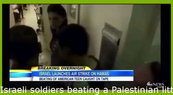 Israeli soldiers beating a Palestinian child. The soldiers got away with 45 day community service....