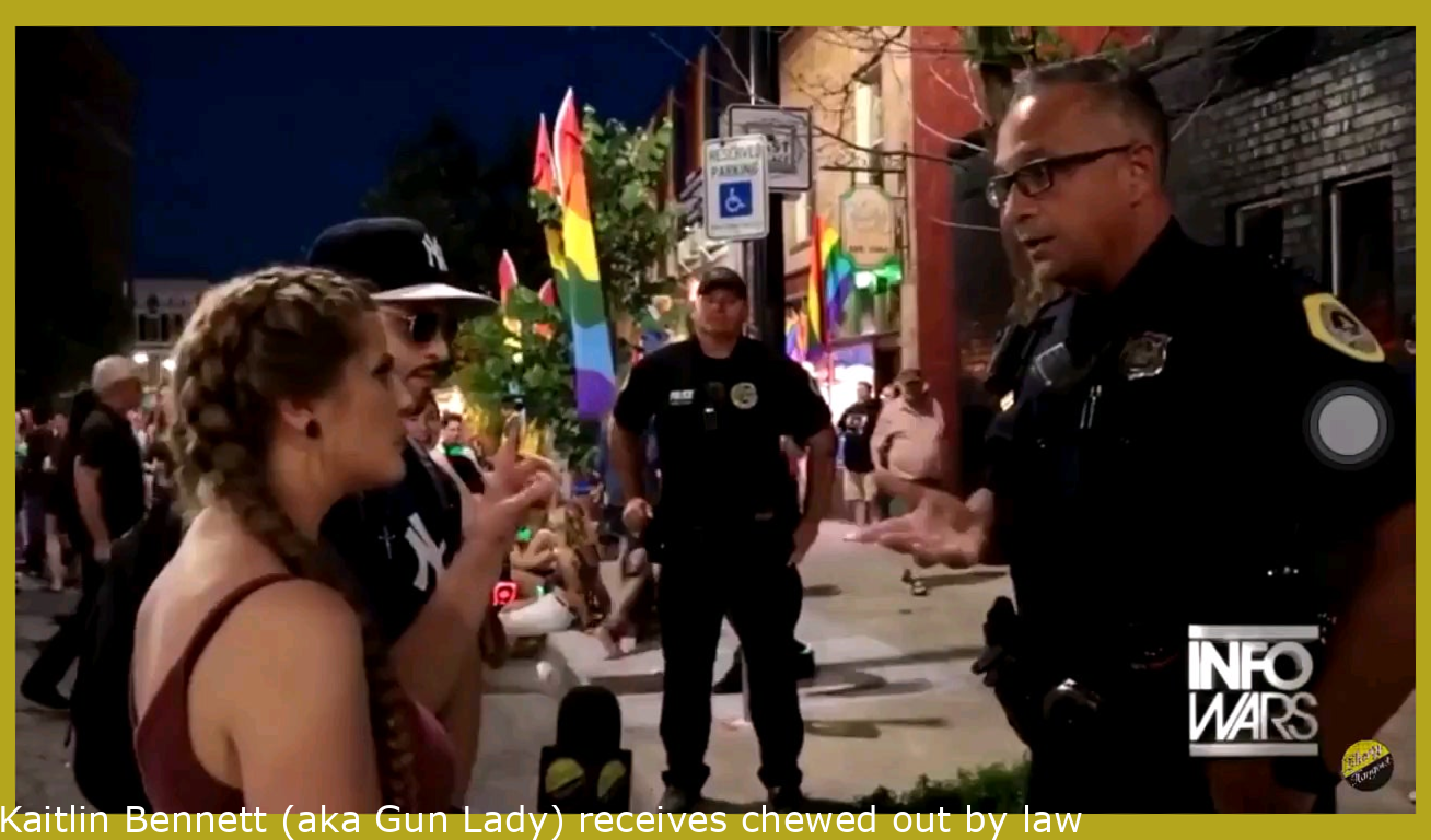 Kaitlin Bennett (aka Gun Girl) gets chewed out by police for harassing people at Pride