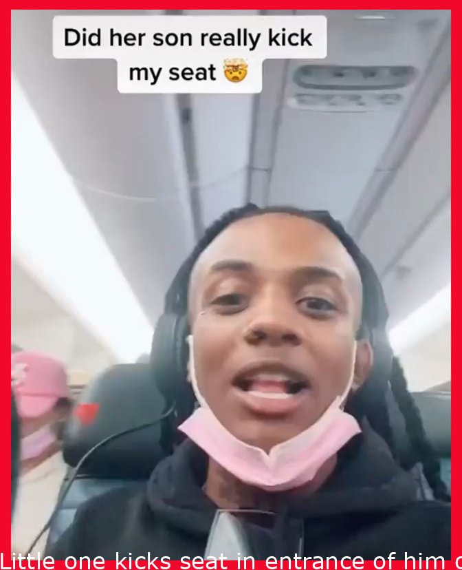 Child kicks seat in front of him on an airplane