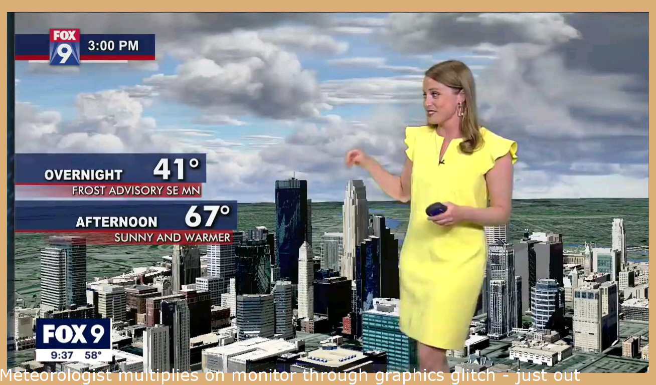 Meteorologist multiplies on screen during graphics glitch