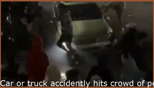 Car accidently hits crowd of people while doing donuts, crowd tries to pull him out of car, fireworks, ground catches fire, mayhem.