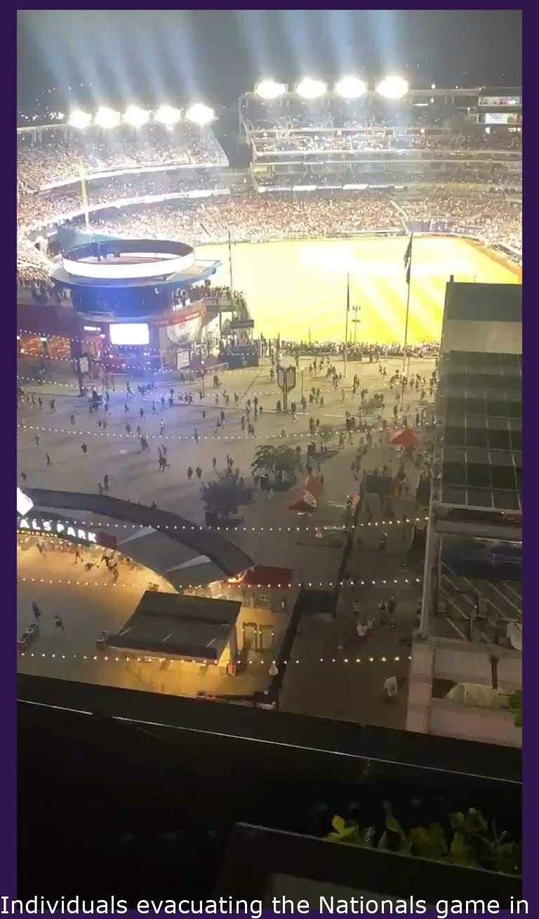 People evacuating the Nationals game in what appears to be an active shooter situation after 5 gunshots ring out.