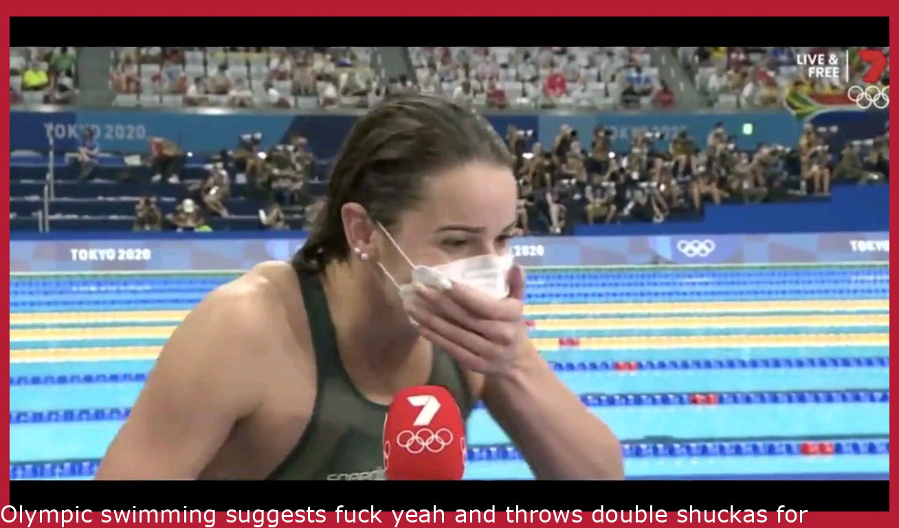 Olympic swimming says fuck yeah and throws double shuckas for her family live on TV after winning gold.