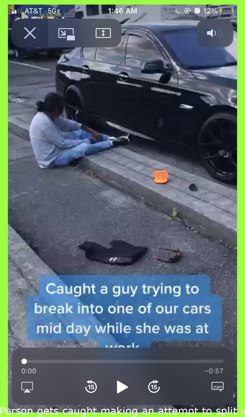 Man gets caught trying to break into a car. Gets confronted and knocked out