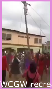WCGW recreating the crucifixion on a wooden post that is way too tall