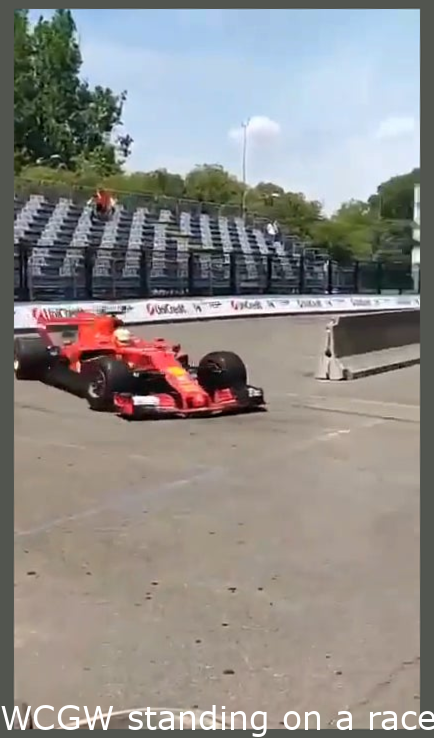 WCGW standing on a race track