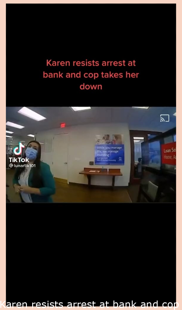 Karen resists arrest at bank and cop takes her down