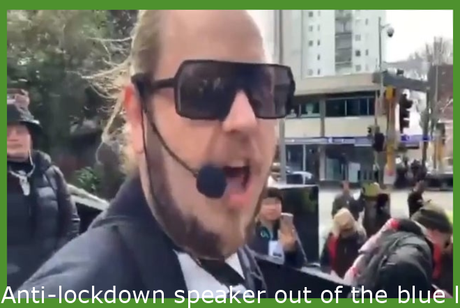 Anti-lockdown speaker suddenly loses Spartan courage when faced with being arrested.