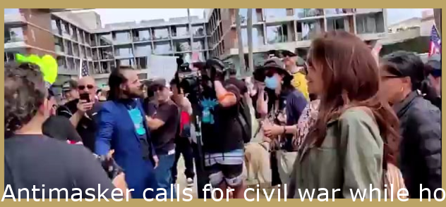 Antimasker calls for civil war whilst holding a sign with the home adresses of LA city council members.