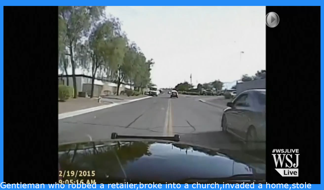 Man who robbed a store,broke into a church,invaded a home,stole a car and then drove the car to Walmart to steal a rifle gets rammed by a cop car