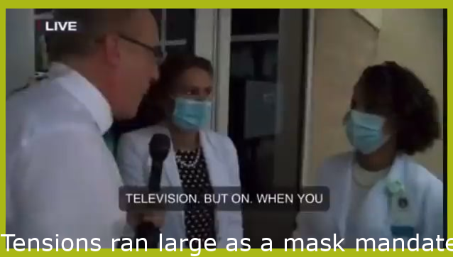 Tensions ran high as a mask mandate was announced in Lee County, FL on Aug 30. A doctor was assaulted and numerous fistfights broke out, including this one on live TV.