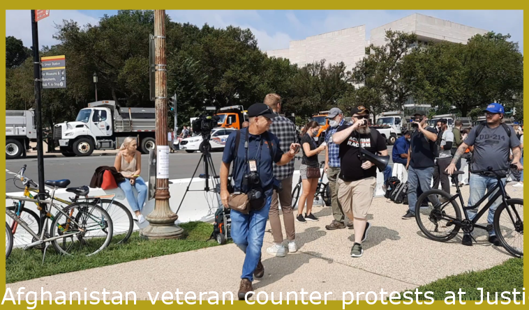 Afghanistan veteran counter protests at Justice for J6 rally in DC