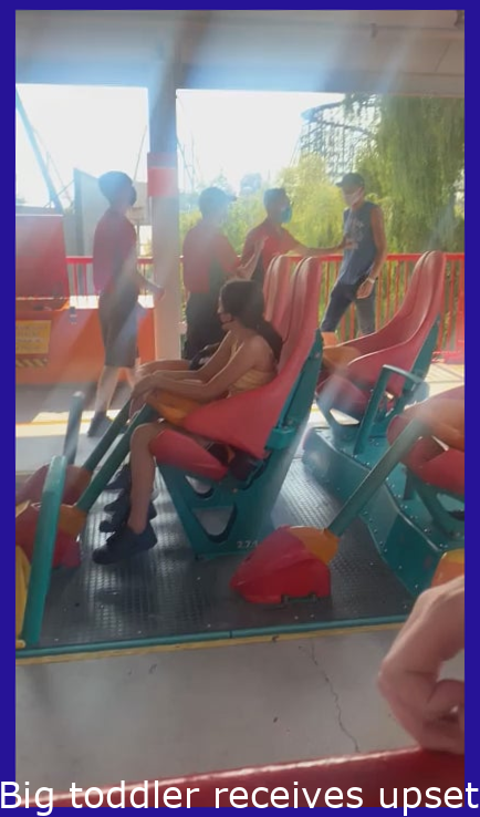 Giant toddler gets upset and violent because he has to wear a mask before going on the ride