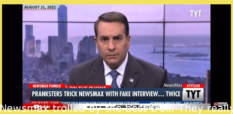 Newsmax trolled by the perfect troll. They don't know what to do.