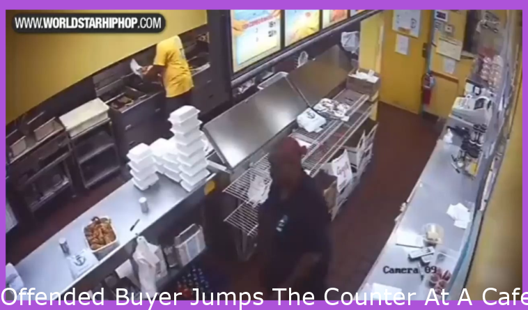 Angry Customer Jumps The Counter At A Restaurant and Gets Served