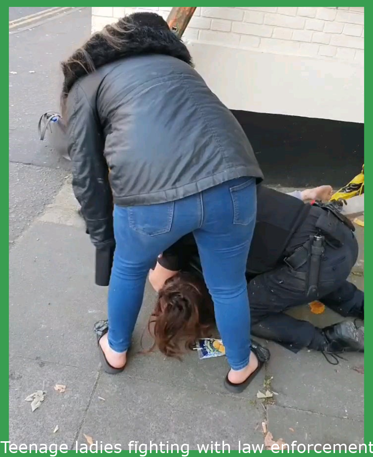 Teenage girls fighting with police in Norwich, UK