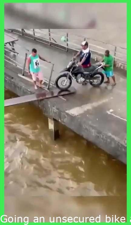 Moving an unsecured motorbike across a wobbly plank, WCGW?